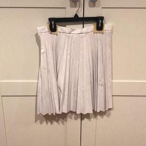 Never worn white pleated leather mini skirt